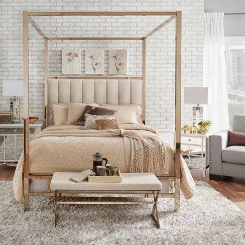 Photo of letto a baldacchino moderno beige elegante oro geometrico industriale