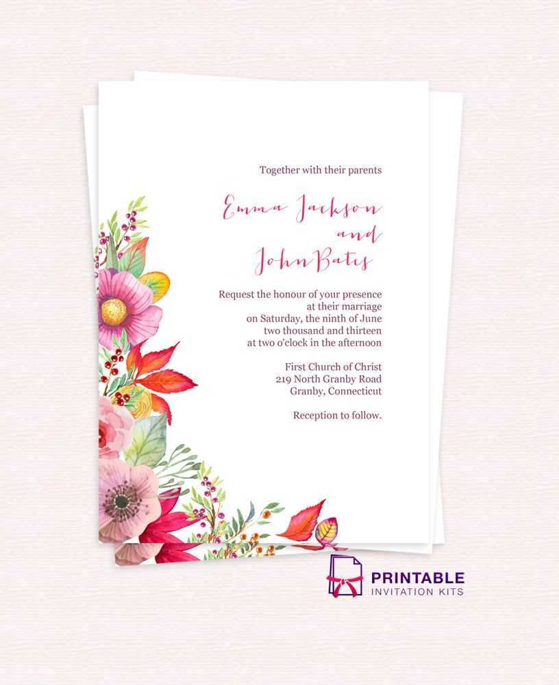 Email Wedding Invites: Free PDF Download. Autumn Blooms Wedding Invitation. For