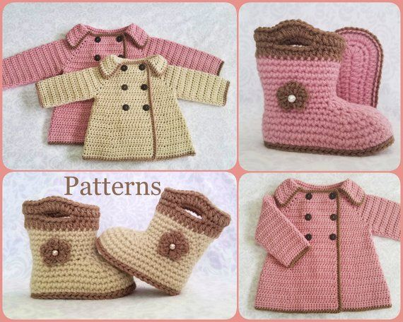 ddf824ae30e71 Crochet PATTERN Baby Sweater & Booties Patterns Baby Girl Sweater ...