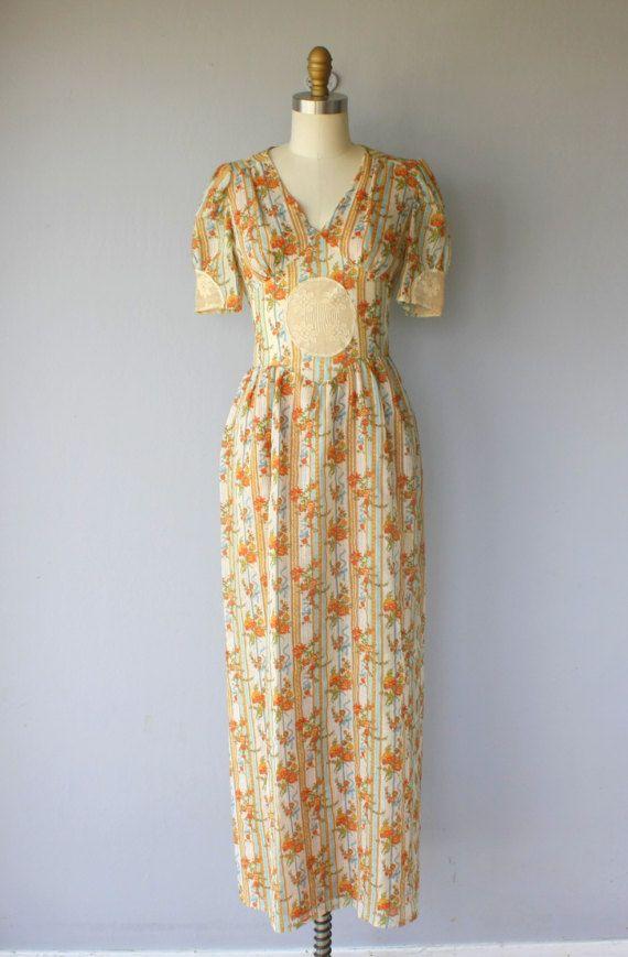 1970s floral dress 70s cotton lace dress 1970s maxi