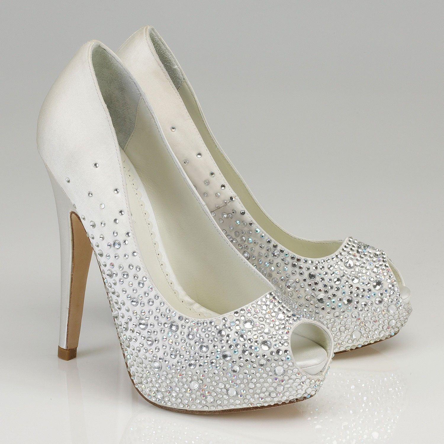 white sparkly prom shoes