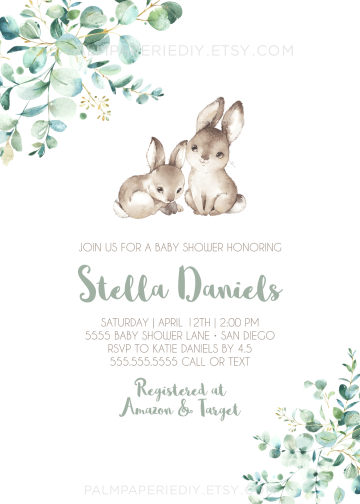Spring Baby Shower Invitation Instant