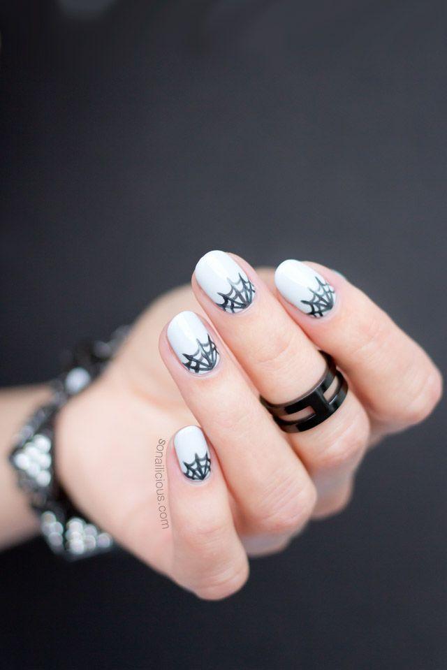 Mani Monday: Half-Moon Spider Web Nails For Halloween ...