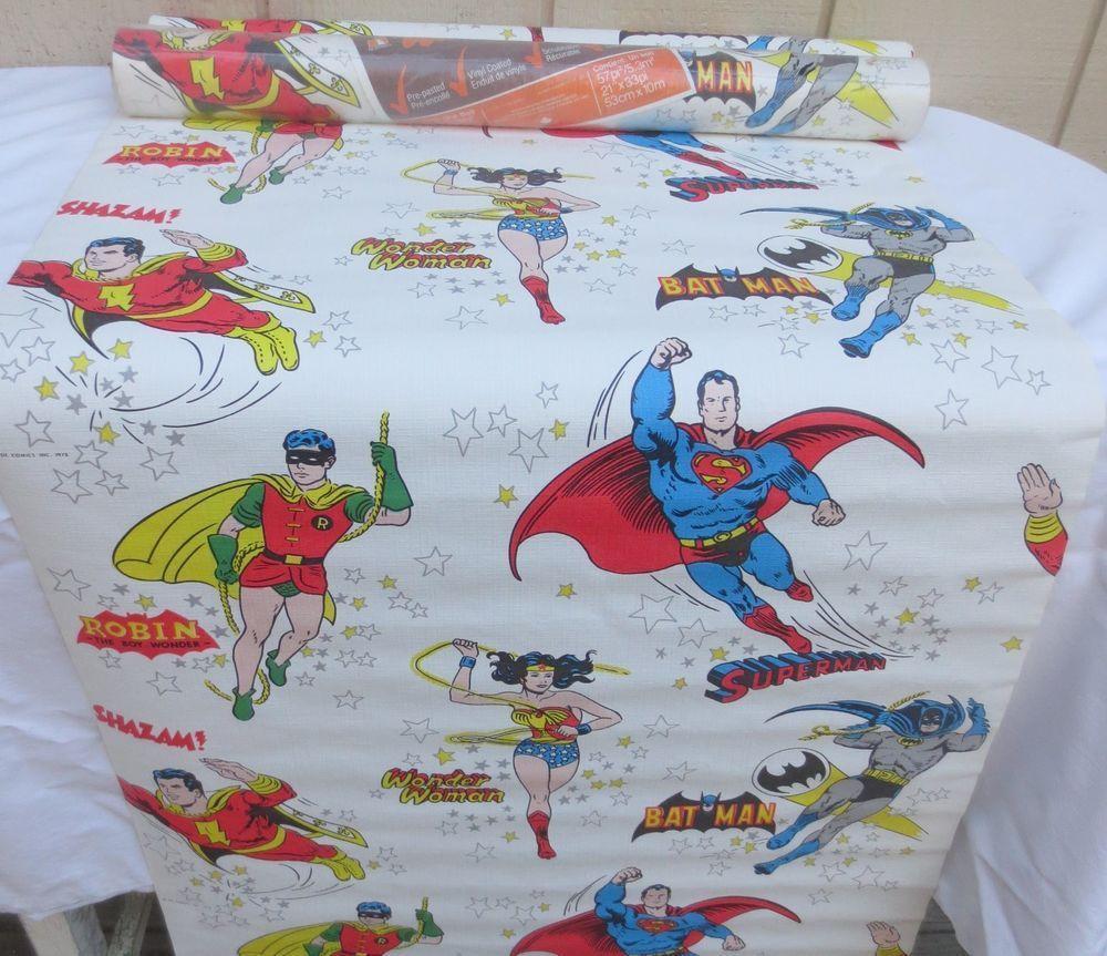 Vintage 1978 DC Comics Superhero Wallpaper Superman Wonder Woman Batman Robin