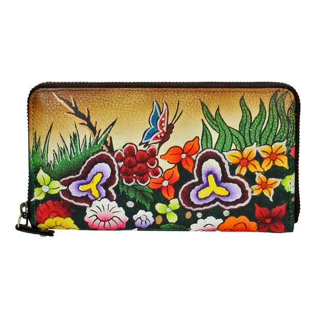 Clutches – Hand Painted Leather Purse / Colorful clutch with hand painted flower illustration – a unique product by Niarvi via en.DaWanda.com