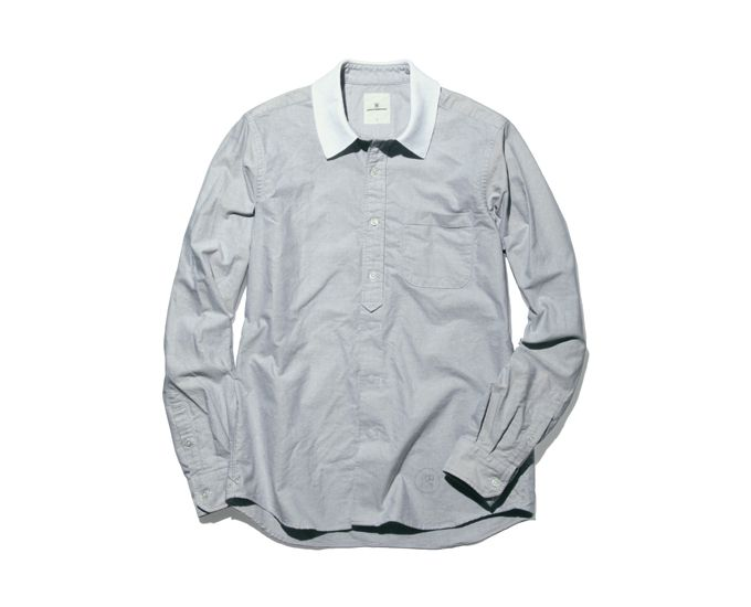 uniform experiment COLLAR RIB FAKE PULL OVER OXFORD SHIRT