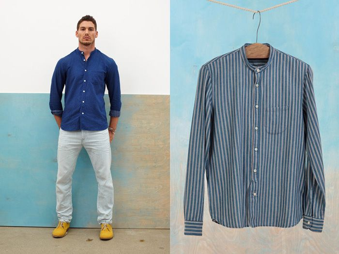7a) Grandad Shirt Collarless Oxford Japanese Pure Indigo Dyed in ...