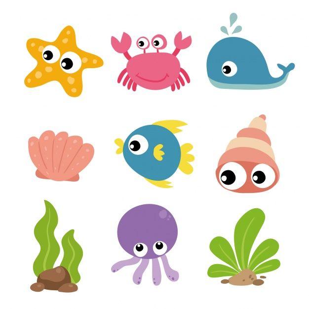 Sea Animals Collection Free Vector Cartoon Sea Animals Shark Theme Birthday Cute Cartoon Drawings