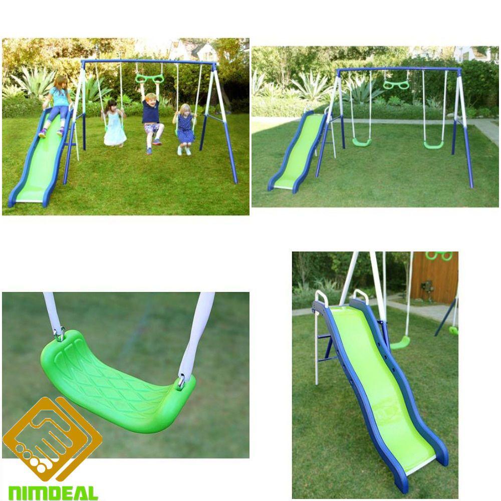 outdoor playground swingset metal swing slide kids backyard