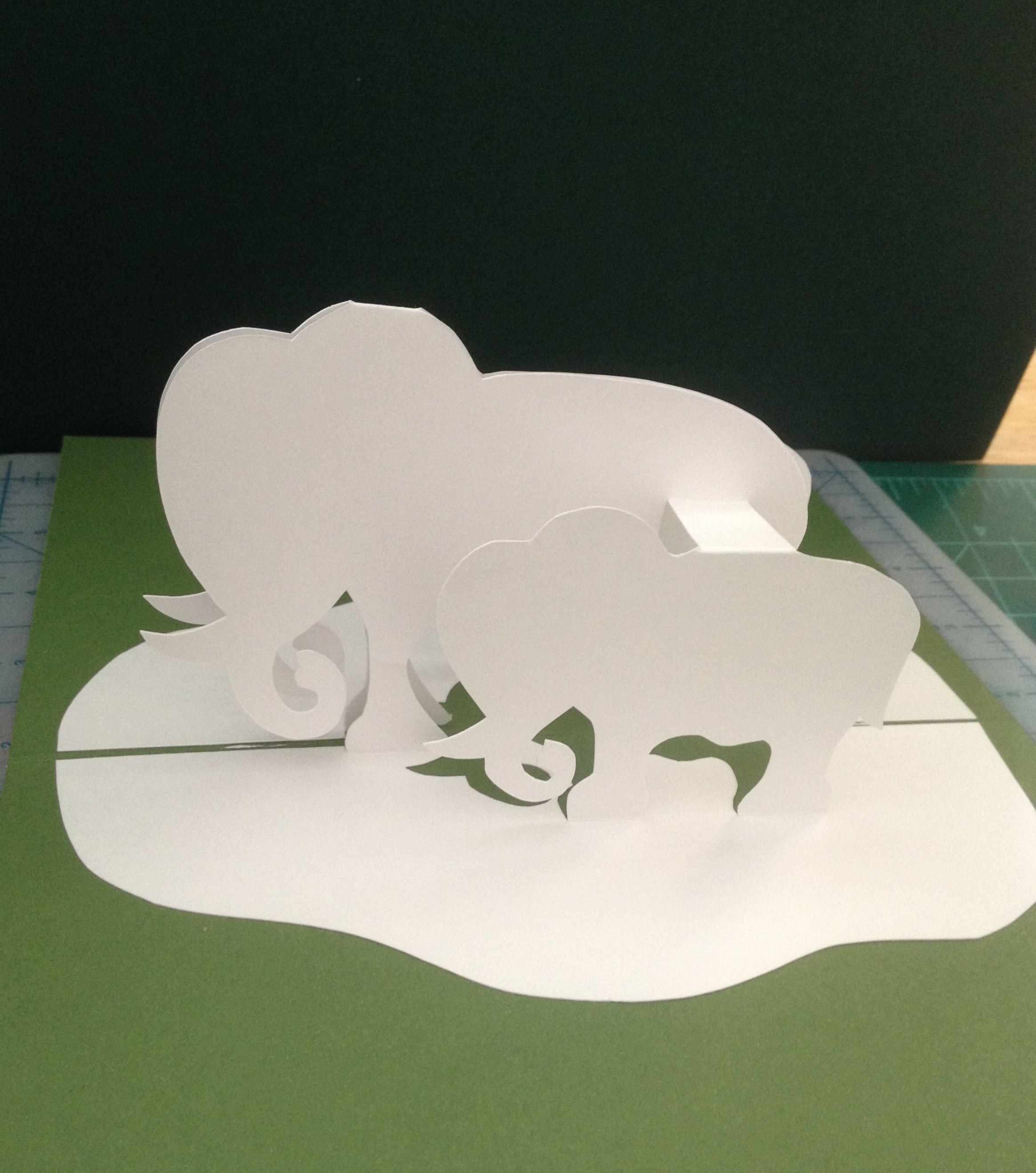 Elephants Pop Up Card Pop Up Card Templates Pop Up Cards Paper Pop
