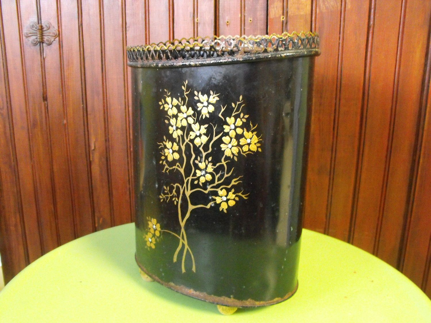 Vintage Ransburg Shabby Chic Hand Painted Trash Can Waste