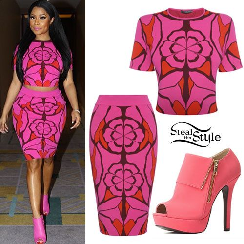 Nicki Minaj Pink Crop Top Skirt Summer Style Pinterest Nicki Minaj Nicki Minaj Outfits