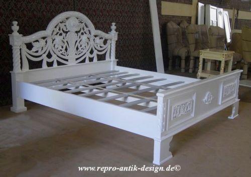Barock Bett 180 Cm Antik Louis XV Weiss  Barockbett Massiv Landhaus Nostalgie NEU