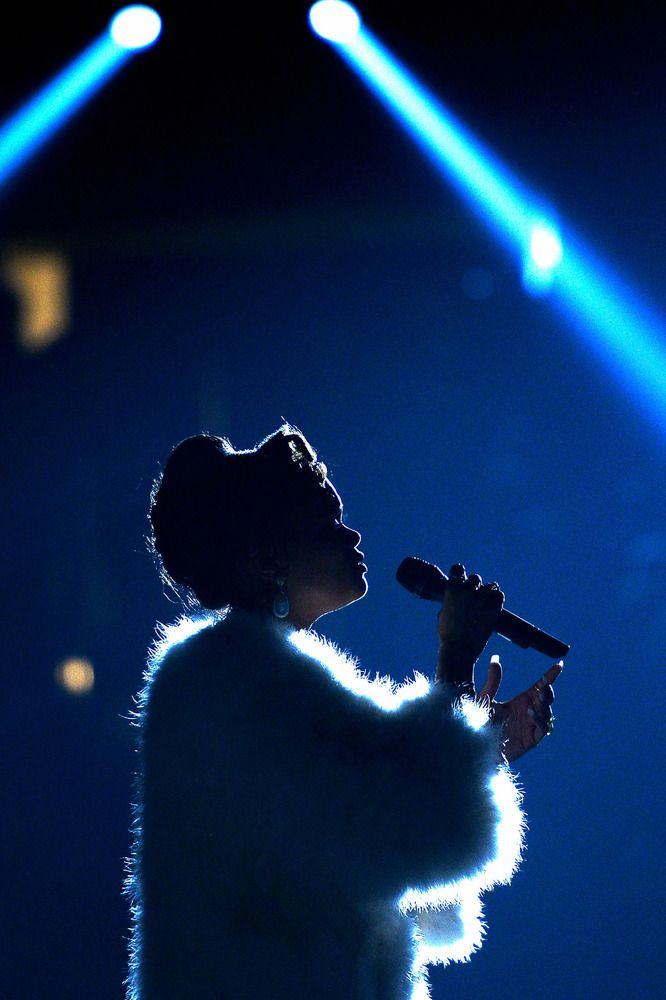 Andra Day singing during her Grammy performance.