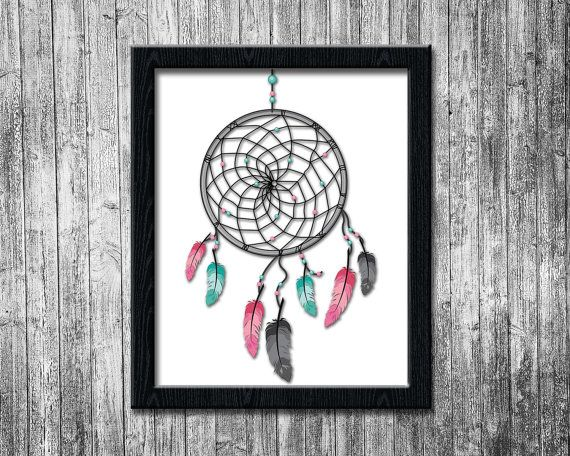 Dream Catcher Printable art, Wall Art, Nursery Wall Decor, Kids Room Decoration, Tribal Feathers, Instant Download WP002