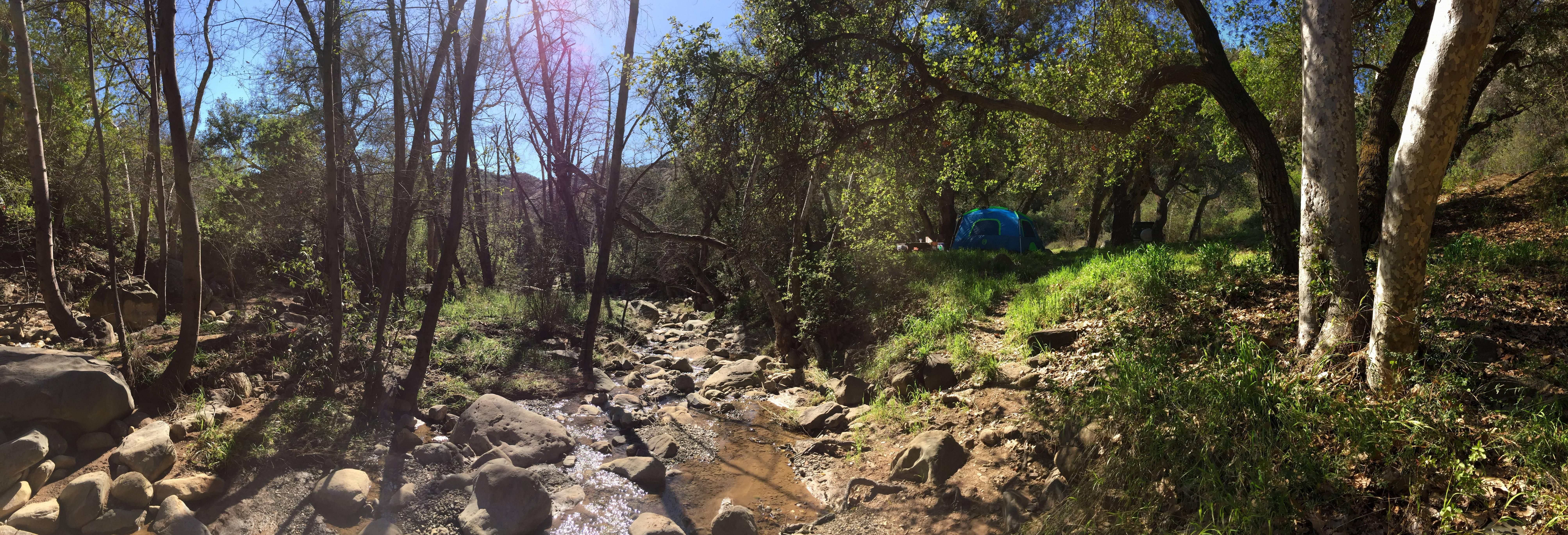 Our awesome campsite last weekend at Wheeler Gorge- Ojai CA