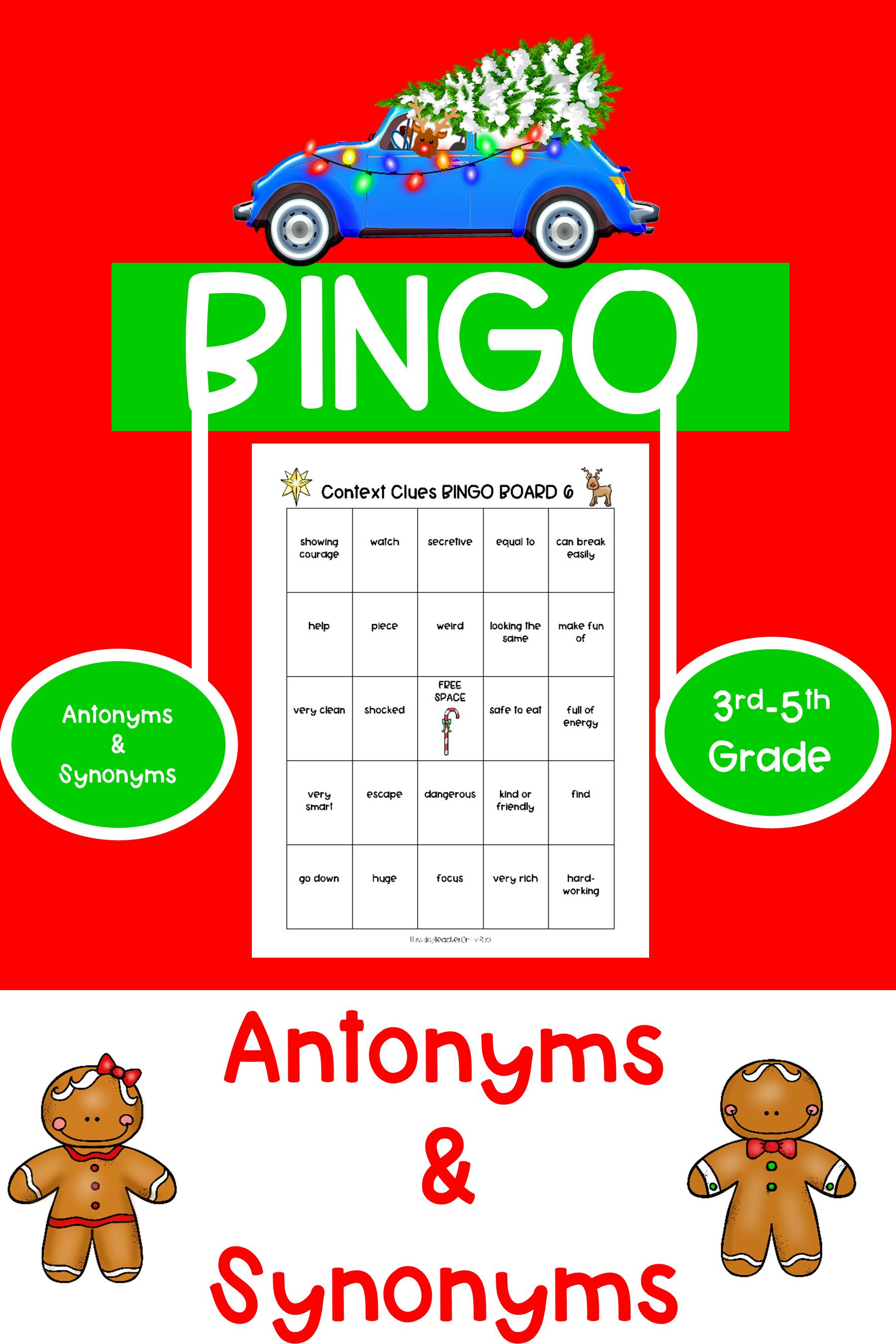 Christmas Bingo Antonyms Amp Synonyms
