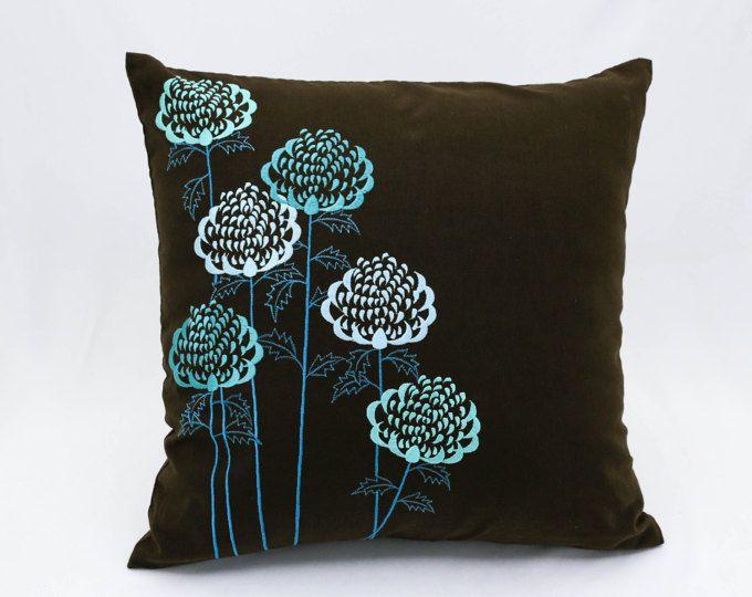 Petrol Blume Bestickt Werfen Kissenbezug Moderne Wohnung Couch