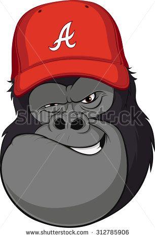 Vector Illustration Funny Gorilla In A Red Baseball Cap Vector Illustration Reds Baseball Illustration