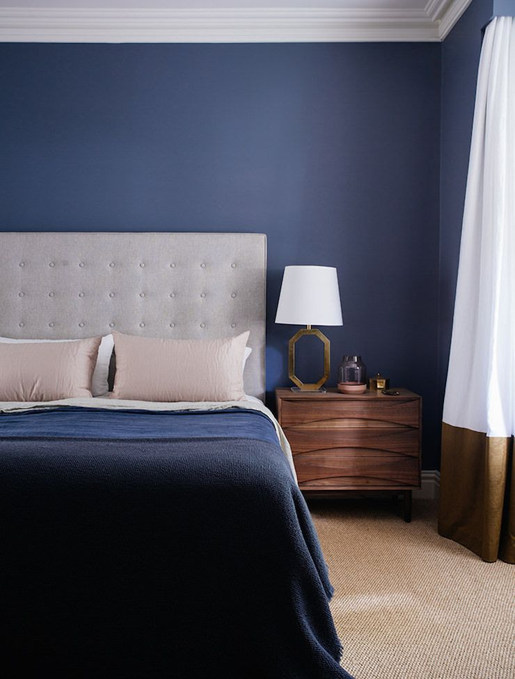 Modern Bedroom Blue dark blue bedroom - arent and pyke design | style - mid-century