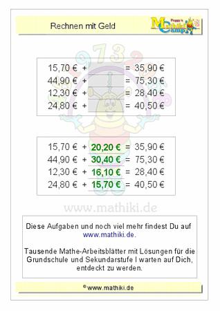 Rechnen mit Geld (ZE,Z0€+ZE,Z0€) - ©2011-2016, www.mathiki.de - Ihre ...