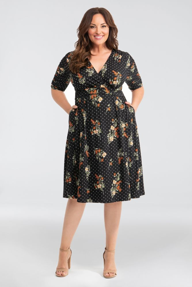 Gabriella Printed Plus Size Dress with Ruching Style 12183501, Navy ...