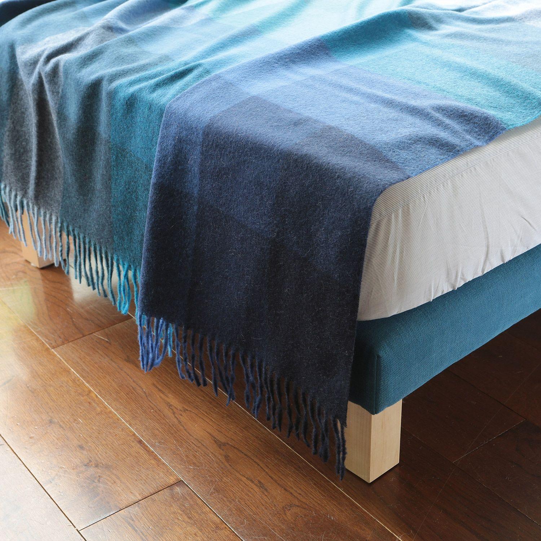 elvang blue check wool blanket