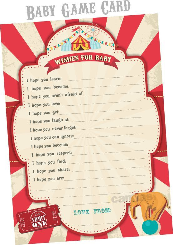 6PieceSuite Circus Baby Shower Invitation Circus BabyShower