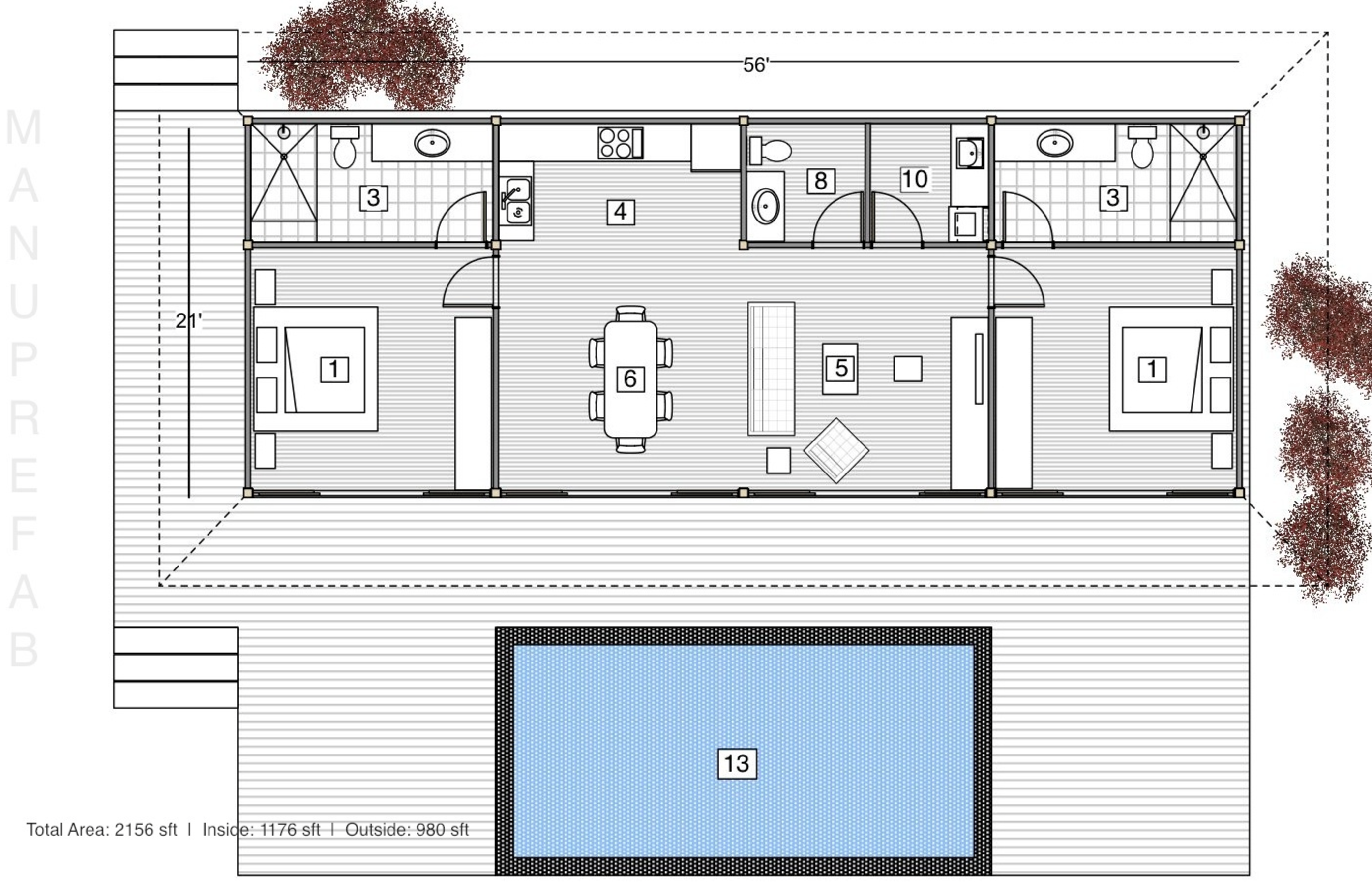 Wrap Around Porch No Front Door Tropical Design Tropical House Design House Plans