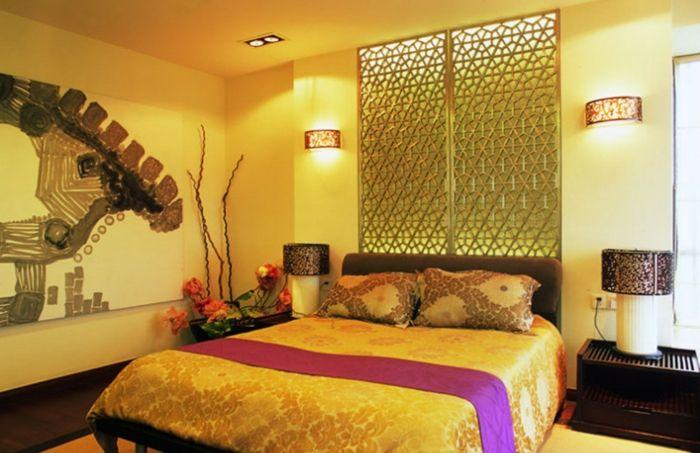 Farbgestaltung Schlafzimmer Wandgestaltung Wanddesign Gelb