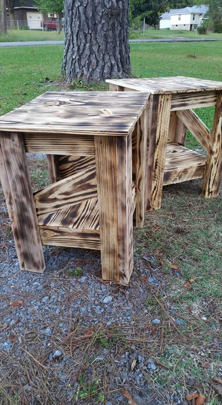 This DIY pallet upcycled side table is