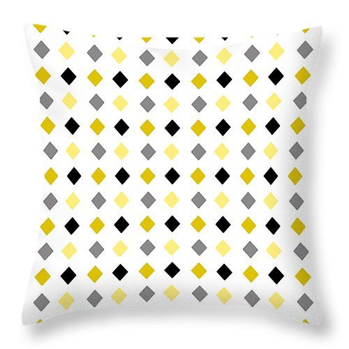 """Black and Gold Diamond Pattern 14"""" x 14"""" Throw Pillow by Christina Rollo.  Multiple sizes available."""