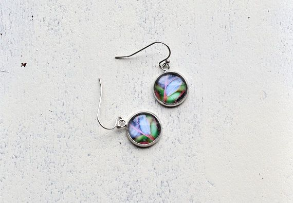 Leaf design silver colored dangle glass cabochon by Anchy on Etsy, $7.50
