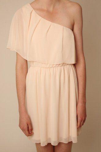 Blush One Shoulder Ruffle Dress