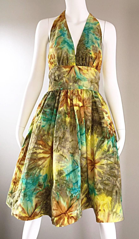 1950s Vintage Tie Dye Blue Yellow Brown Gray Fit n' Flare 50s Halter Dress
