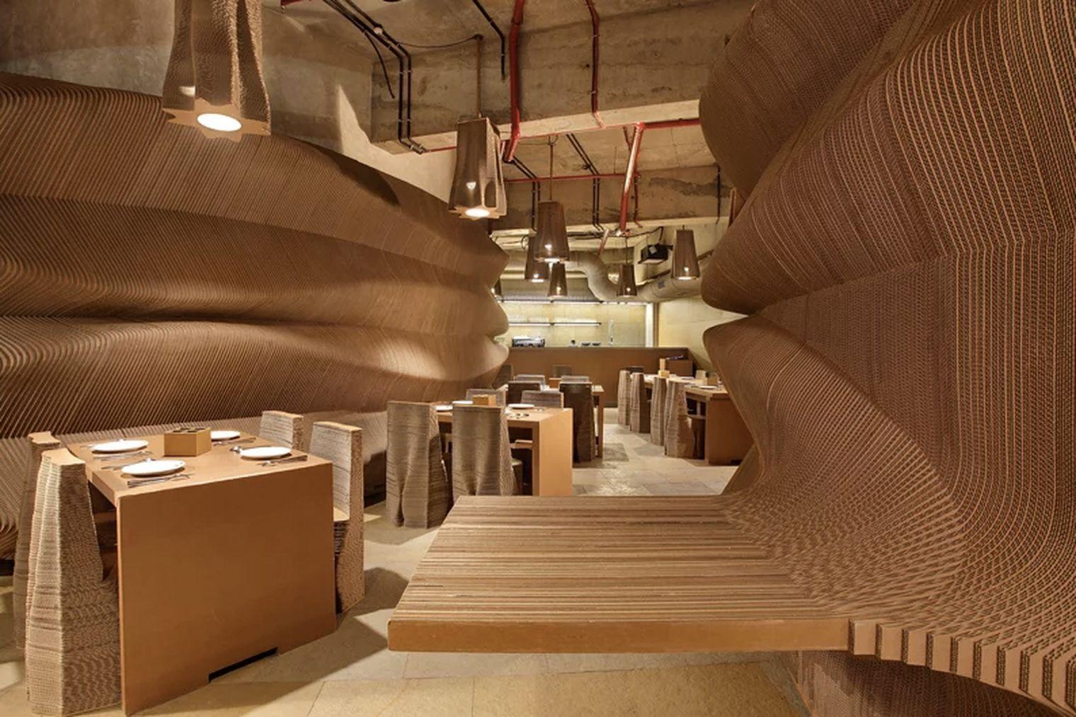 Inside a cafe made of cardboard Bar design awards, Bar