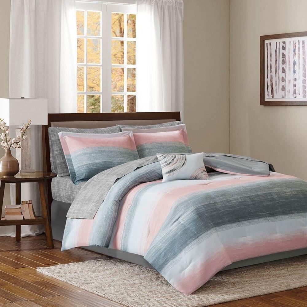 Luxury Blush Pink Grey & White Stripes Comforter Set AND
