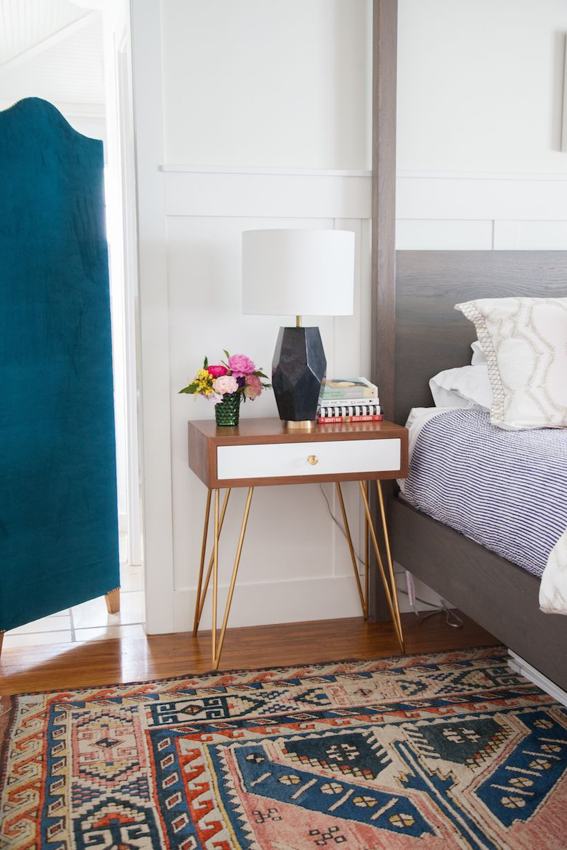 Best Sarah's Colorful Family Abode Modern Bedside Table 400 x 300