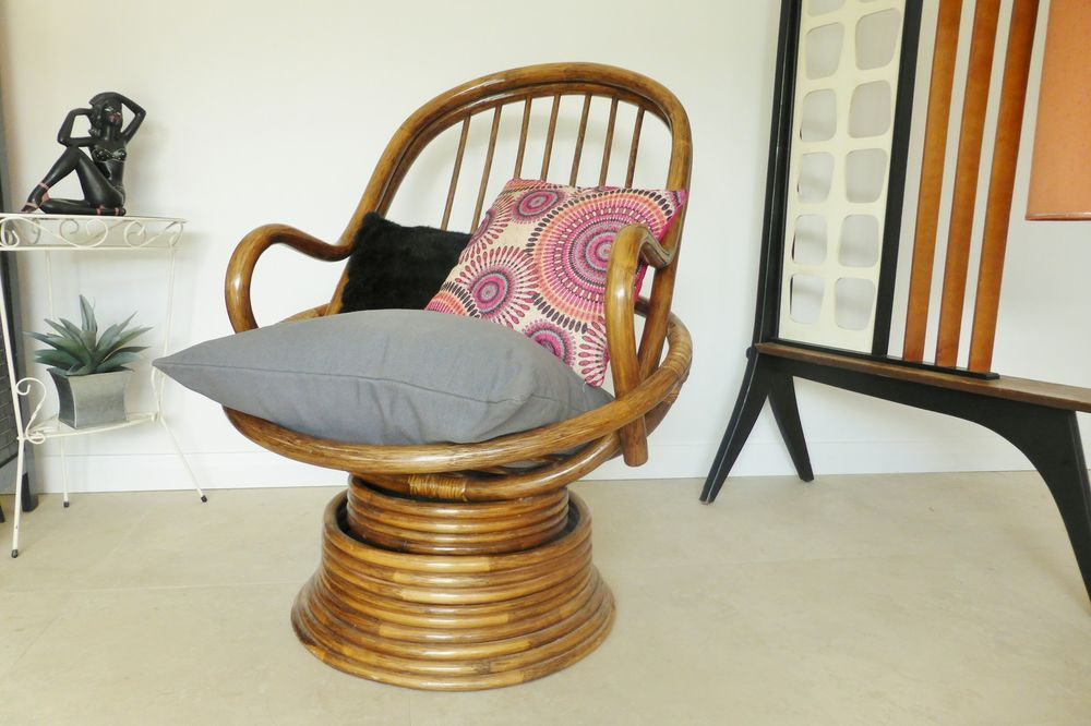 Retro Vintage Bamboo Cane Swivel Armchair Pod Style Rocking Chair Canes