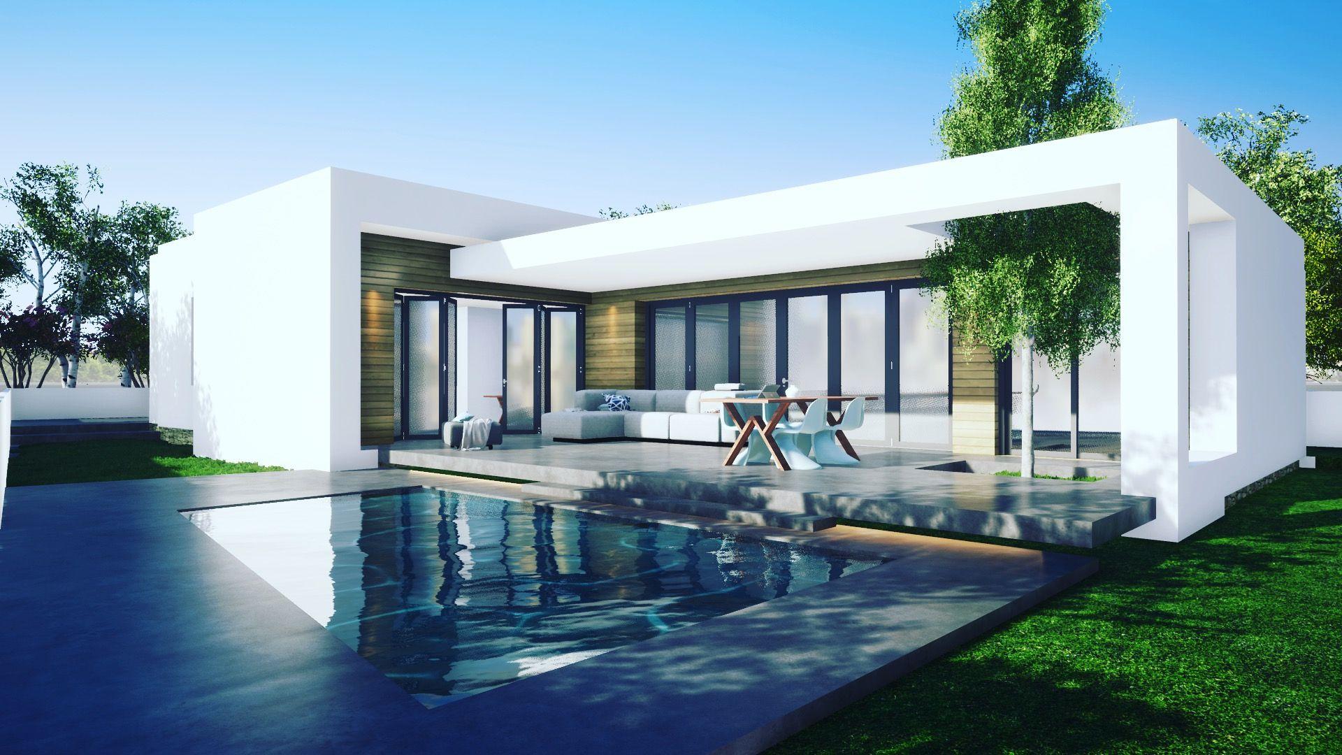 Vivienda En Una Sola Planta Con Piscina Proxima Construccion En Miami Platja Arquitectura Casas Vivienda Unifamiliar
