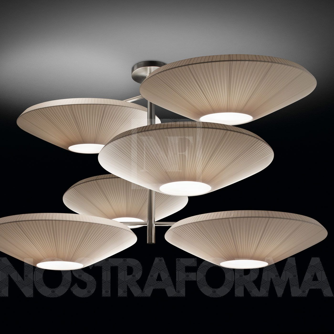 Bover Siam 6 Luces Suspension Six Abat Jour Design Luminaires