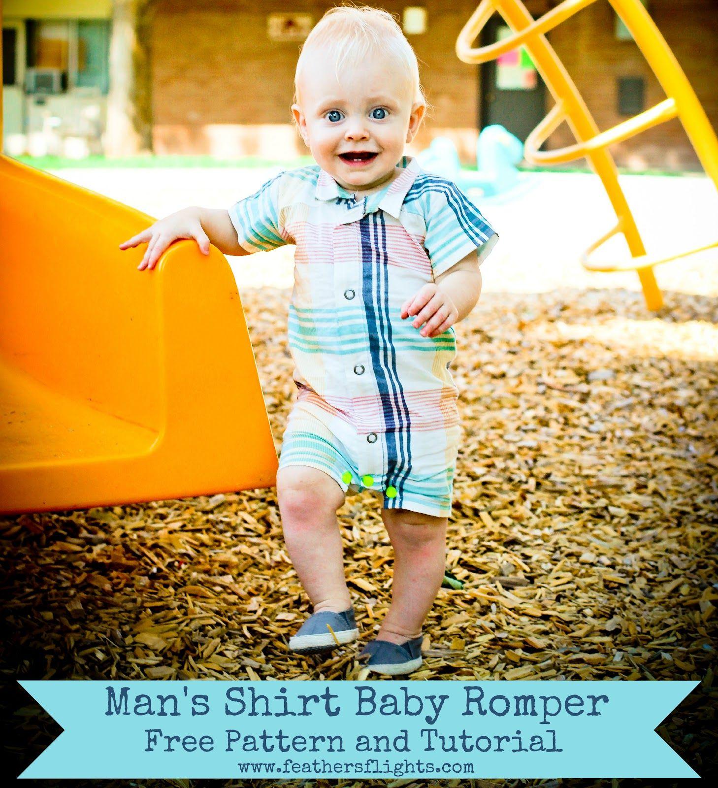 Feather\'s Flights - Men\'s Shirt Baby Romper {Pattern & Tute | Nähen ...