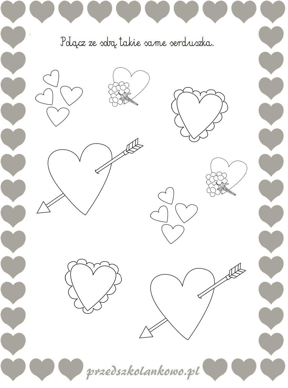 Walentynkowe Karty Pracy Przedszkolankowo Kartki Kolorowanki