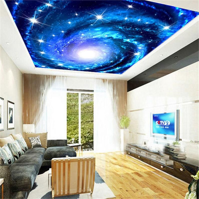 Custom 3d Photo Wallpaper Galaxy Stars Ceiling Fresco Art Wall Etsy In 2021 Ceiling Murals Star Ceiling Wall Painting Living Room