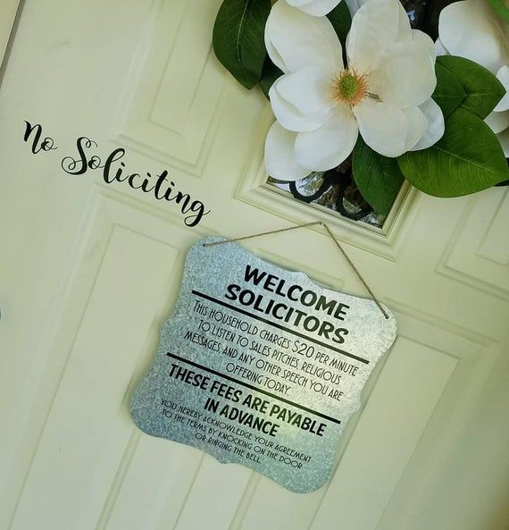 Welcome Solicitors Door Sign - Funny Soliciting Sign - No Soliciting Door Hanger  - Front Door Decor - Rustic Decor - Do Not Knock Door Sign #nosolicitingsignfunny