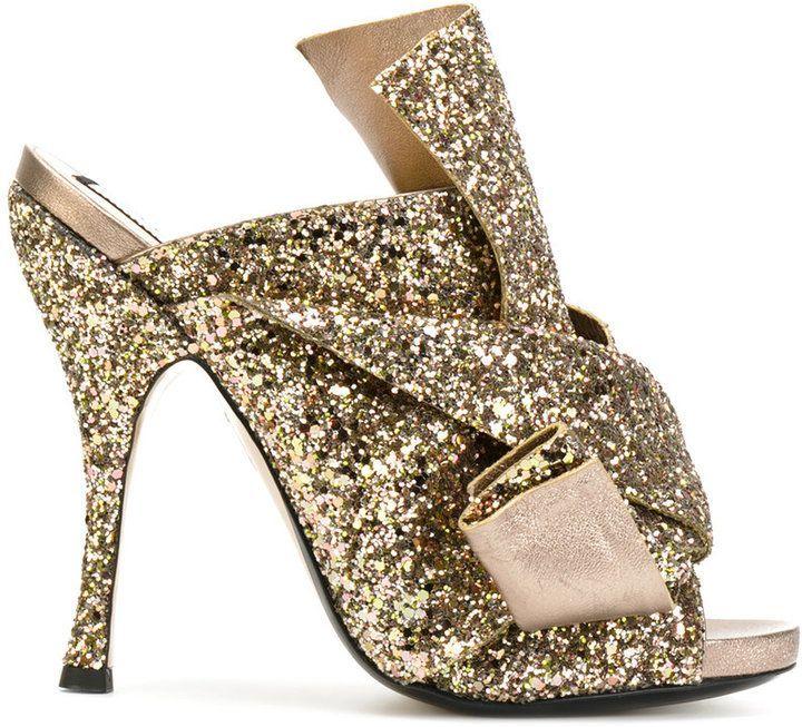 No.21 glitter strap mules   Fancy heels