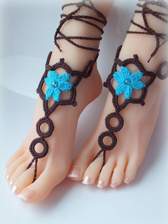 Crochet Barefoot Sandals Nude shoes Foot Jewelry by Selanestore ...
