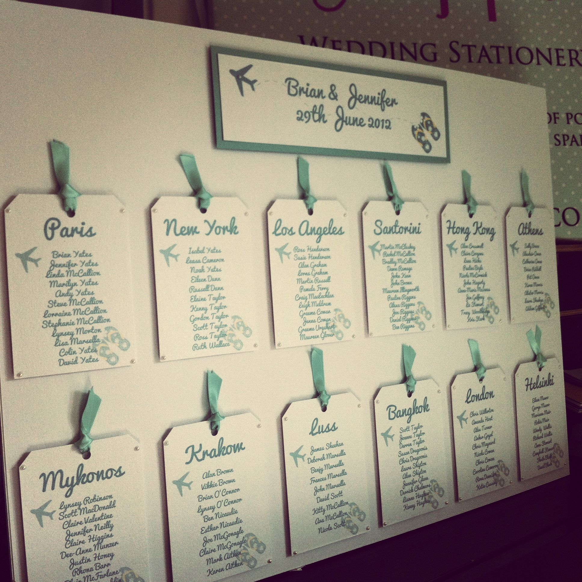 Travel Themed Luggage Tag Table Plan change to train station names ...