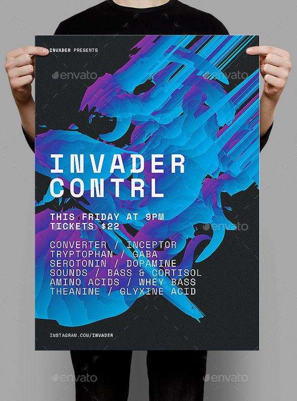 Invader Control Poster / Flyer | Flyers, Photoshop and Posters