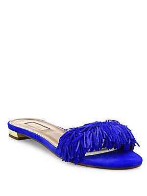 Aquazzura Wild Thing Fringed Suede Slides in JUNGLE GREEN